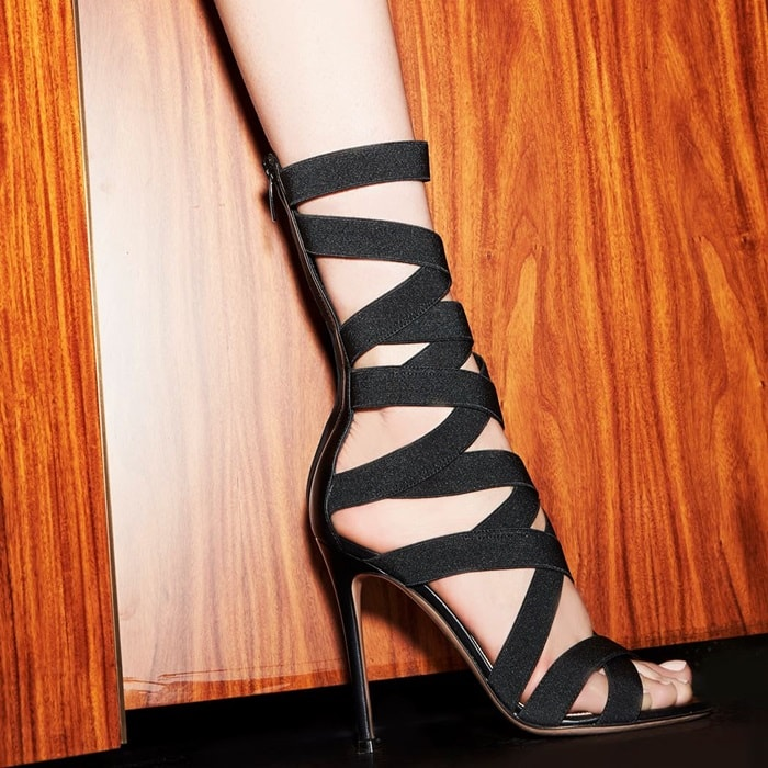 Gianvito Rossi's Elettra sandals are crafted of black ultra-smooth nappa leather