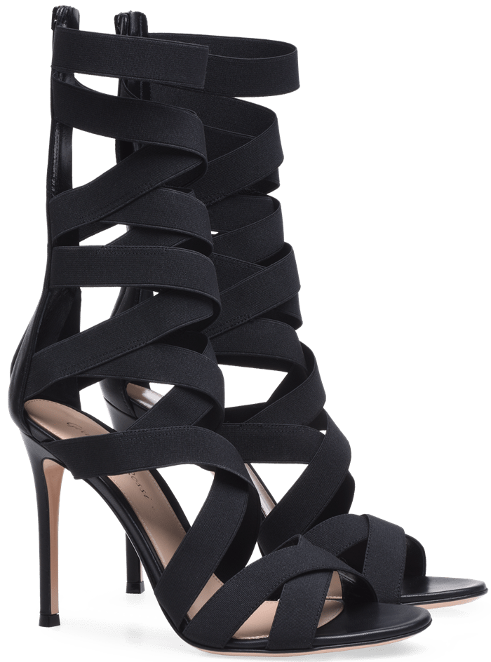 Cut with a mid-calf silhouette, this gladiator-inspired pair features crisscross elastic straps and a sky-high stiletto heel