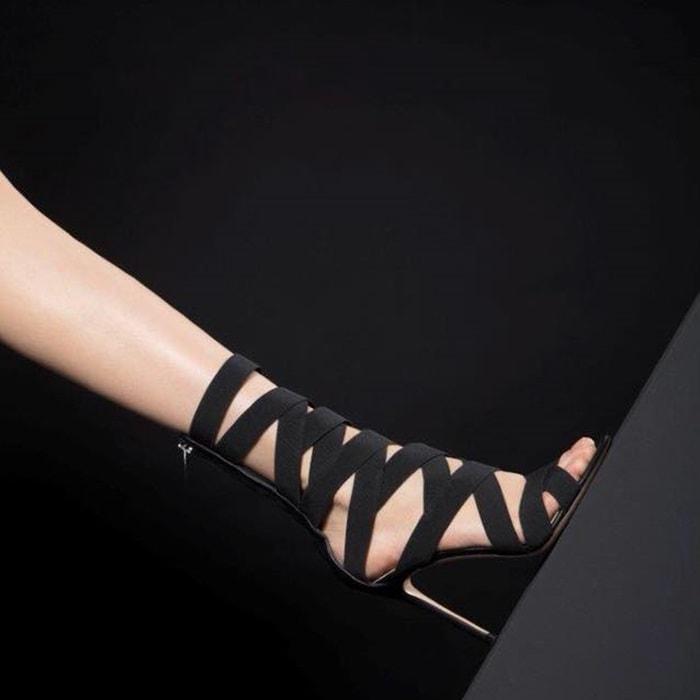 GIANVITO ROSSI Elettra Leather & Elastic Sandals