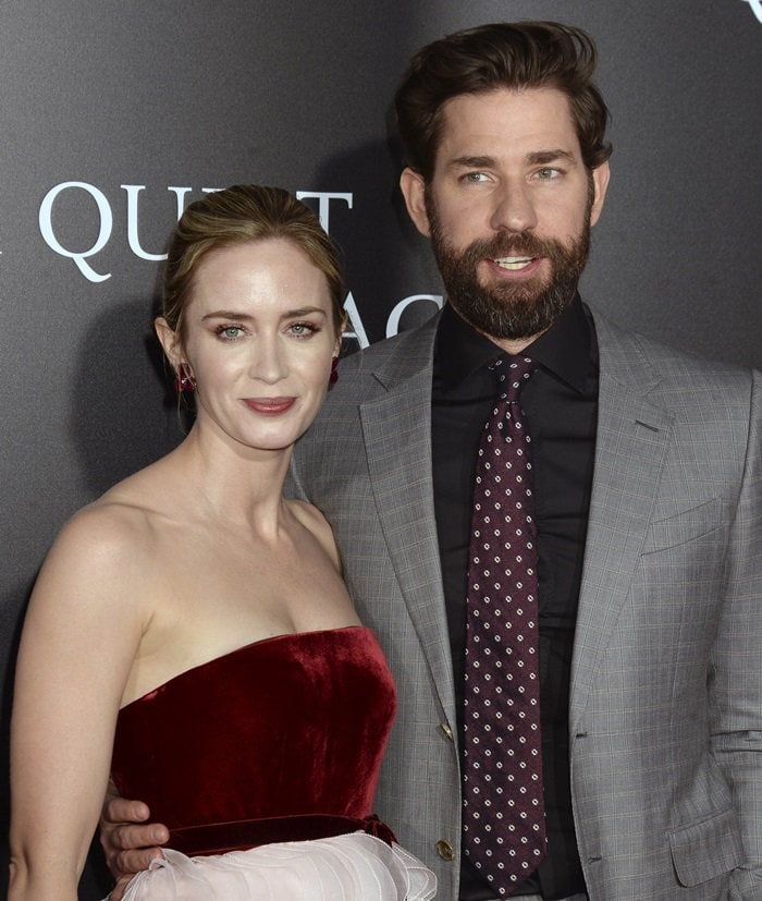 Emily Blunt and John Krasinskiat the premiere of A Quiet Place