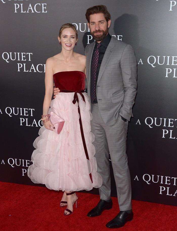 Emily Blunt in Oscar de la Renta and John Krasinski inErmenegildo Zegna