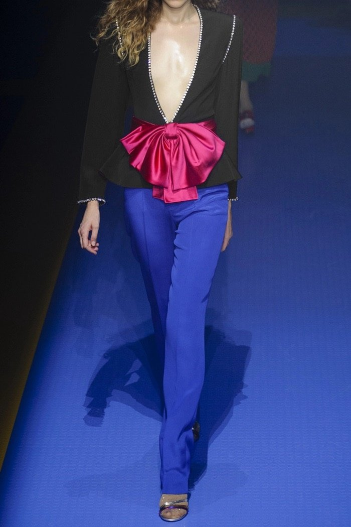 Gucci's pants were worn with this jacket on the Spring '18 runway - the cobalt-blue and fuchsia looked so striking together