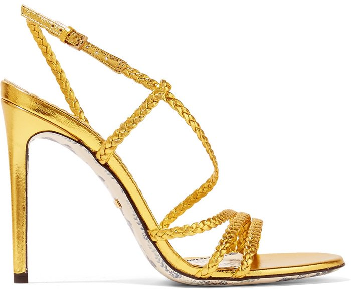 Gold leather 'Haines' braided metallic leather sandals