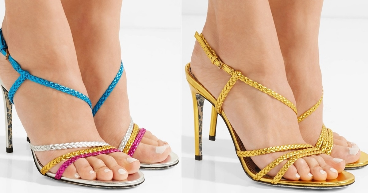 cb1b4fa303cc Haines Braided Metallic Leather Sandals in Color Block and Gold
