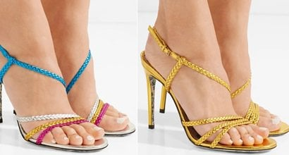0bb5503821d Haines Braided Metallic Leather Sandals in Color Block and Gold