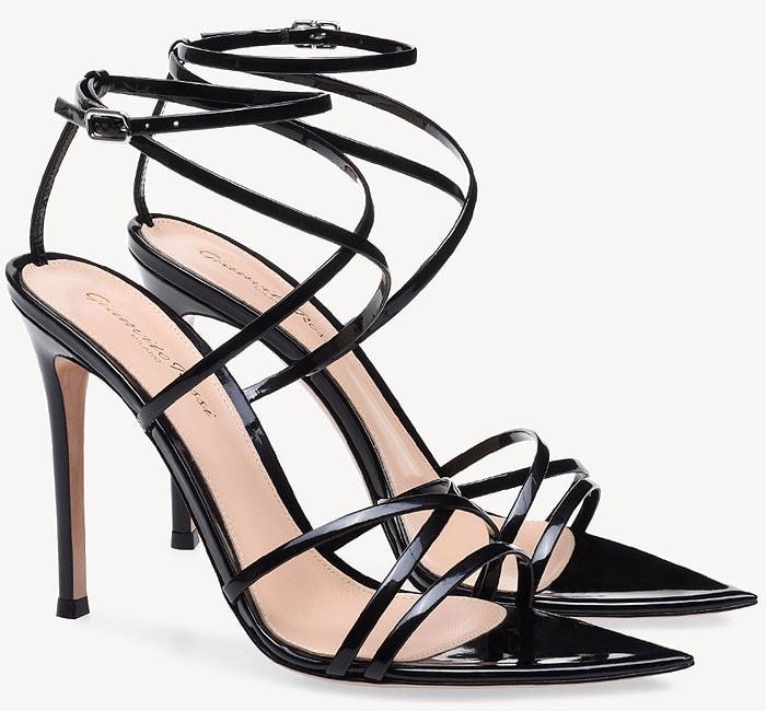 Gianvito Rossi 'Kim' black patent sandals