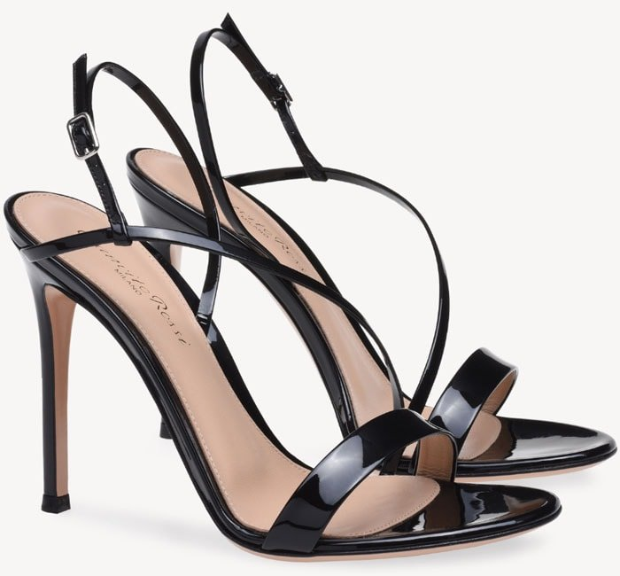 Gianvito Rossi 'Manhattan' Sandals in Black Patent