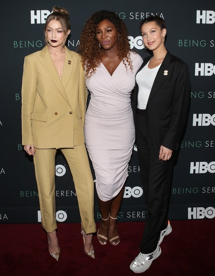 Serena Williams posing with Gigi and Bella Hadid at the premiere of 'Being Serena'