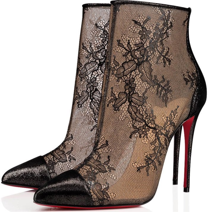 This ankle boot plays with transparency effects to reveal the foot in all its beauty beneath superfine delicate black lace redolent of lingerie