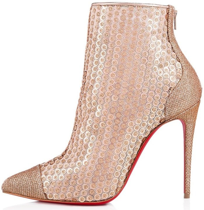 The ankle boot features nude sequins sewn on a tulle base