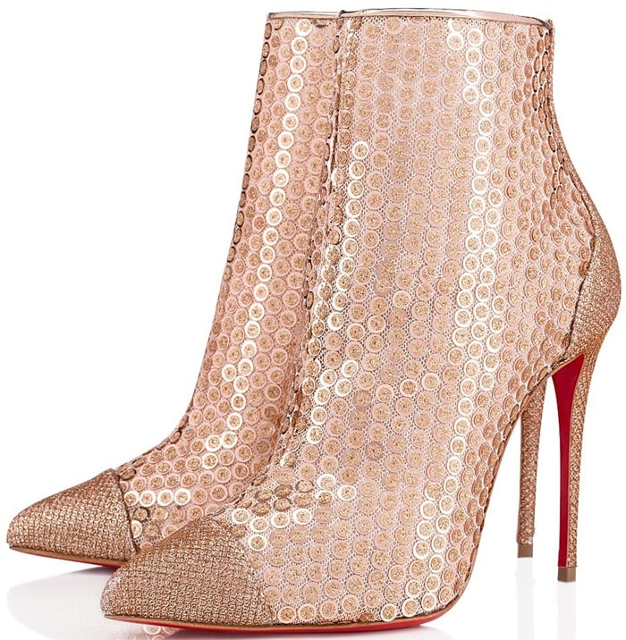Shiny creamy Colombe cotton-lurex blend in a diamond pattern gives extra shine to the superfine 100mm heel
