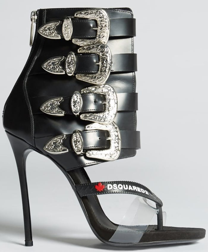 This'Gothika' shoe combines the base of a sandal with a leather ankle boot top
