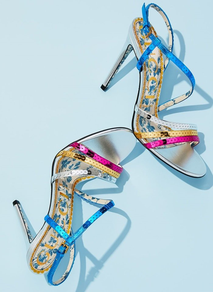 'Haines' sandal in multicolor metallic sequins and leather trim
