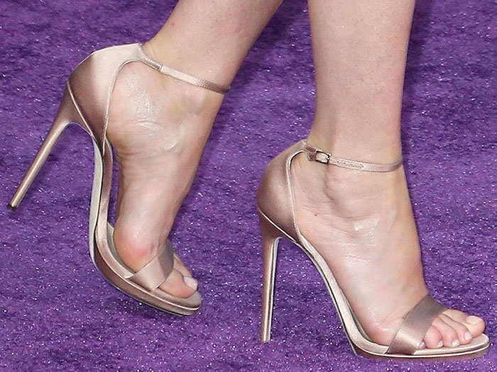 Gwyneth Paltrow's feet in the Jimmy Choo 'Kaylee' ankle-strap sandals in nude satin.