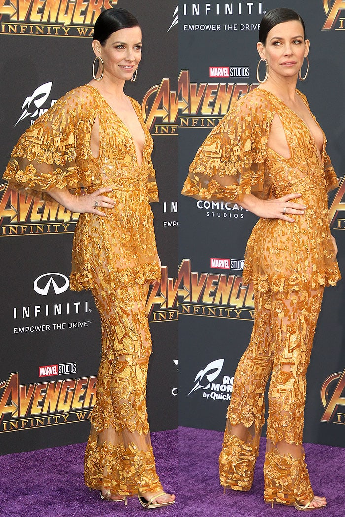 Evangeline Lilly in aZuhair Murad Couture gold embroidered jumpsuit and Le Silla 'Award' gold strappy sandals.