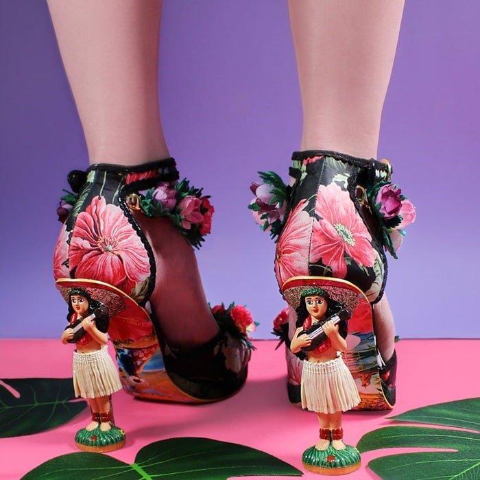 Hawaiian-Inspired Shoes With Hula Girl Heels