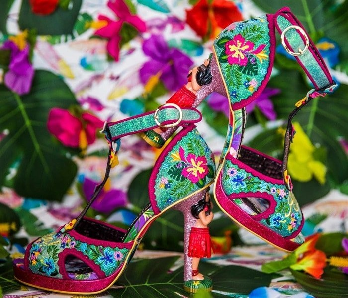 Gorgeous hula girl character heel with grass skirt detail