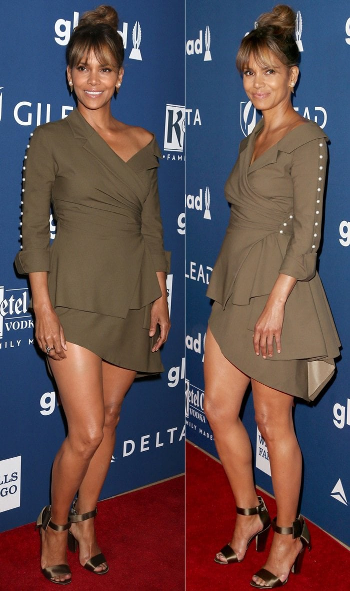 Halle Berry showed off some major leg in a chocolate-colored Adeam Fall 2017 outfit
