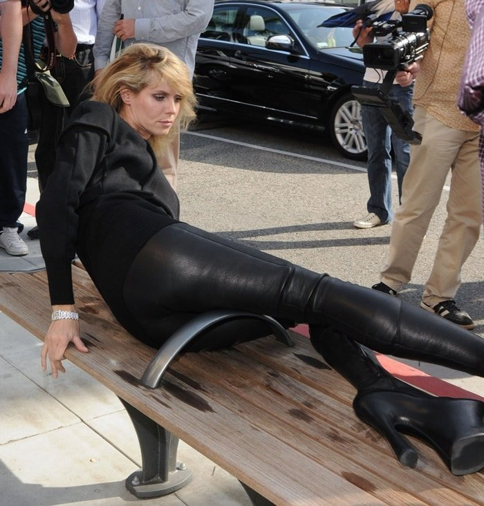 Heidi Klum wears insane Alexander McQueen thigh-high platform boots