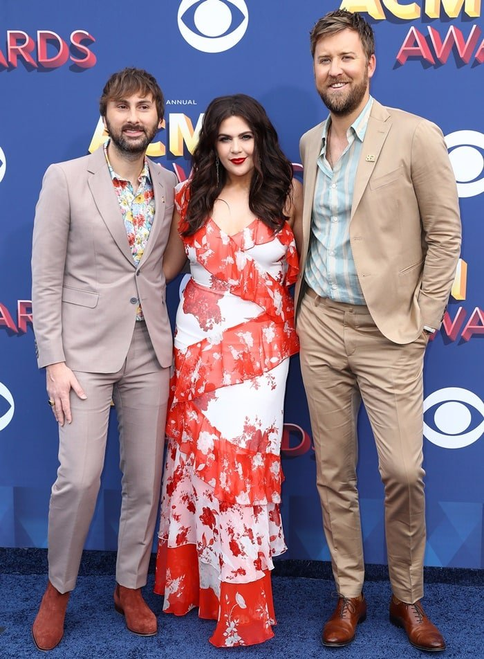 Hillary Scott, Charles Kelley, and Dave Haywood of 'Lady Antebellum'at the 2018 Academy of Country Music Awards