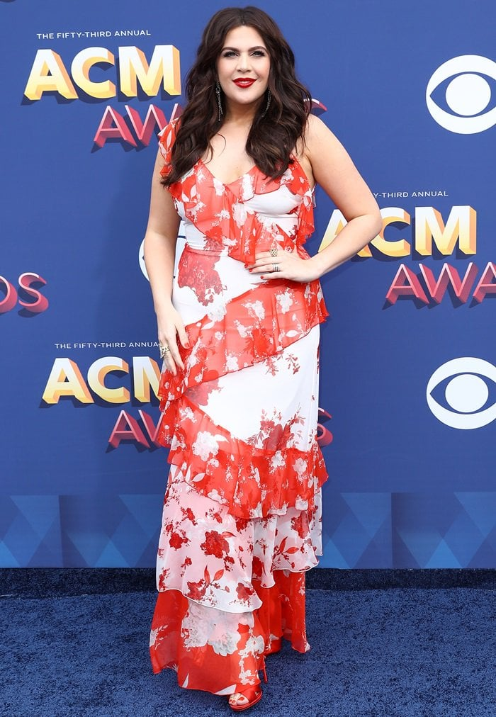 "Hillary Scott wearingAlice + Olivia's ""Olympia"" asymmetric silk dress"