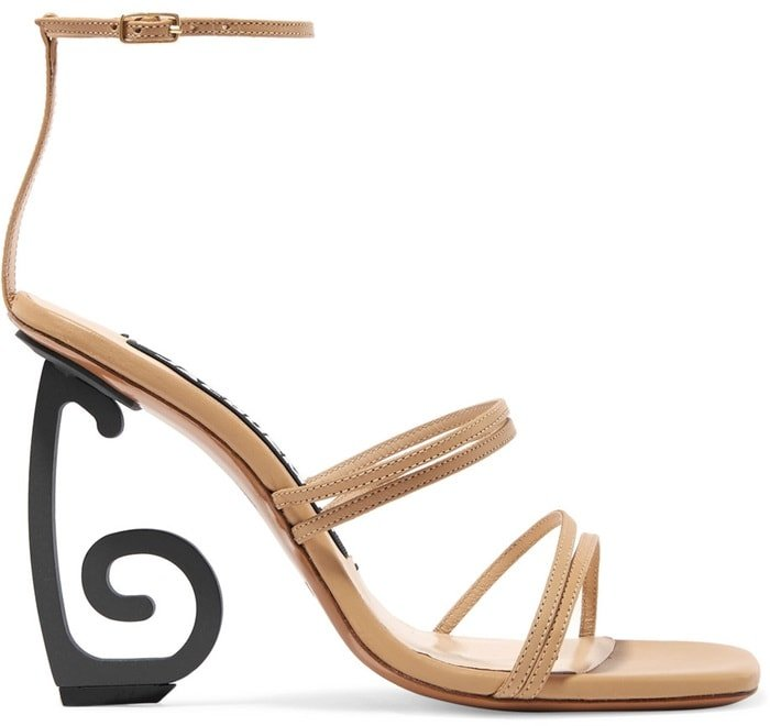 This artful 'Espiral' sandal sits on slightly different heels that are reminiscent of swirling 'J's