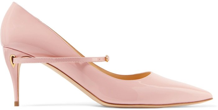 These 'Lorenzo' pumps are handmade from baby-pink patent-leather and rest on a 65mm heel