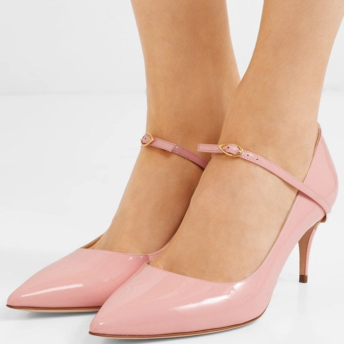 Baby pink 'Lorenzo' patent-leather pumps