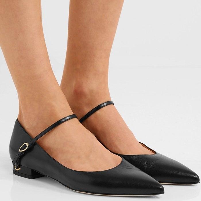 Black leather 'Lorenzo' leather point-toe flats