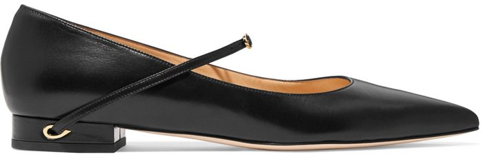 These point-toe 'Lorenzo' flats are crafted from smooth black leather and finished with the label's signature 'eye of the needle' detail at each heel