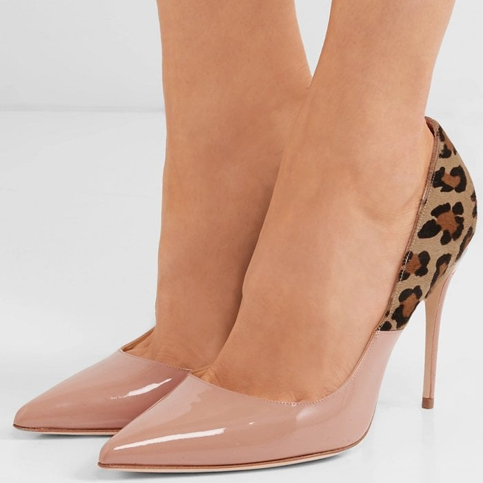 'Lorenzo' leopard-print calf hair and patent-leather pumps