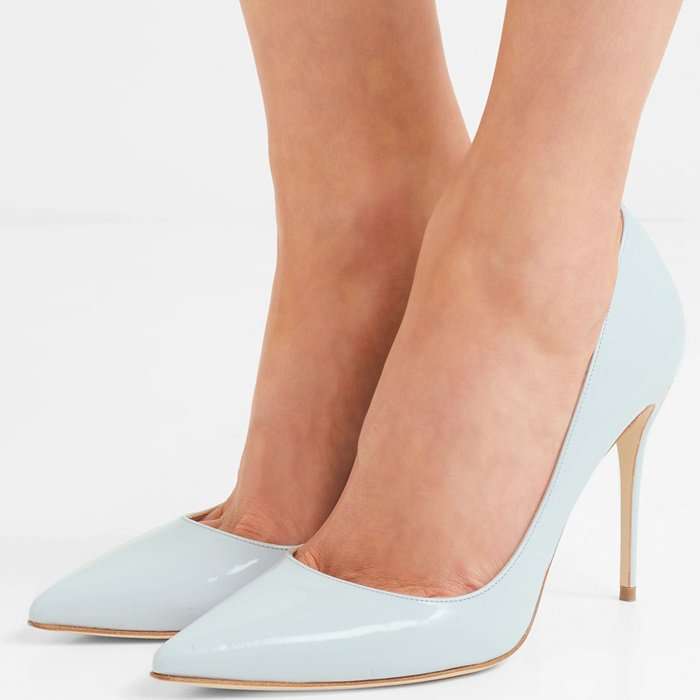 Sky-blue leather 'Lorenzo' patent-leather pumps