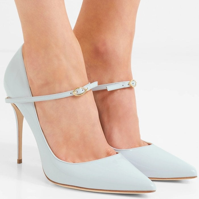 These 'Lorenzo' pumps are meticulously handcrafted from glossy sky-blue patent-leather and set on a pin-thin stiletto heel