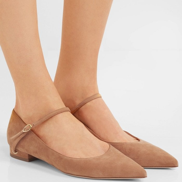 Sand suede 'Lorenzo' suede point-toe flats