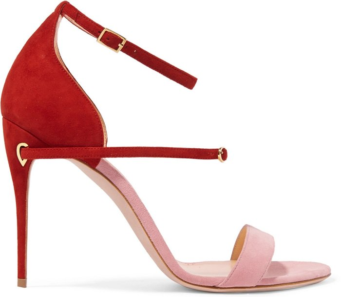 Pink and red 'Roland' two-tone suede sandals