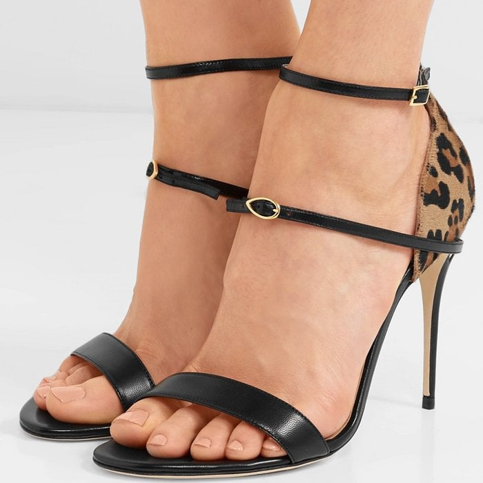 'Rolando' leopard-print calf hair and leather sandals