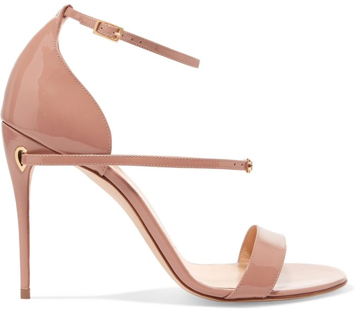 Beige 'Rolando' patent-leather sandals