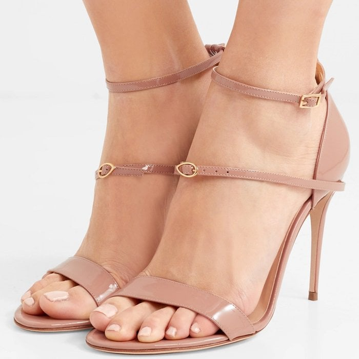 These 'Rolando' sandals are handmade from glossy beige leather and threaded with a delicate detachable strap