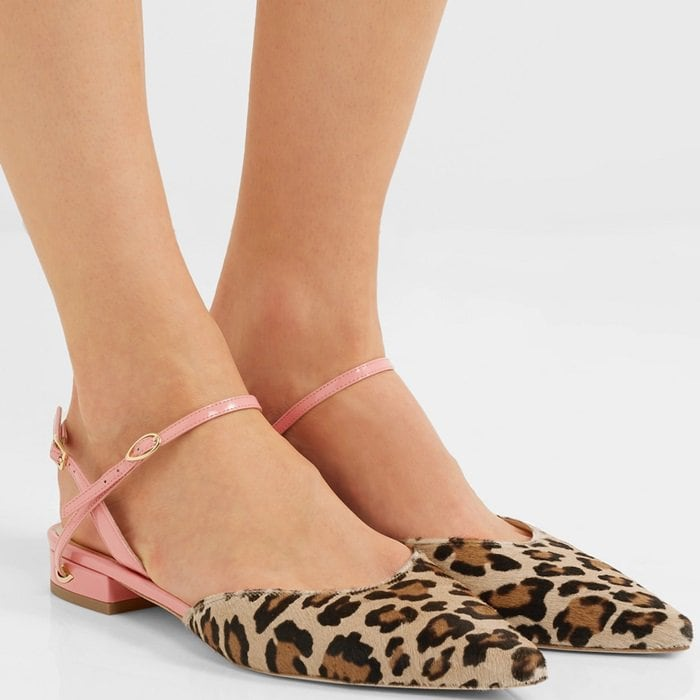 'Vittorio' leopard-print calf hair and patent-leather point-toe flats