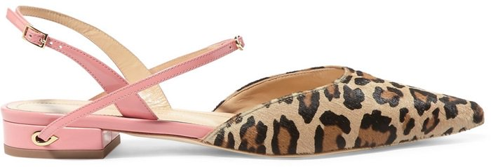 These pointy 'Vittorio' flats are made from pink patent-leather and leopard-print calf hair