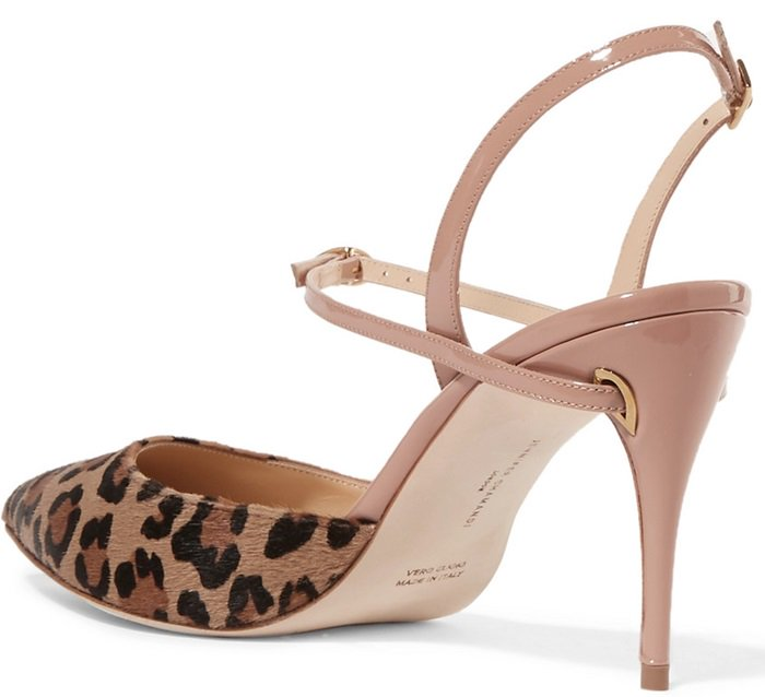 This 'Vittorio' pair has been handmade in Italy from leopard-print calf hair and beige patent-leather.