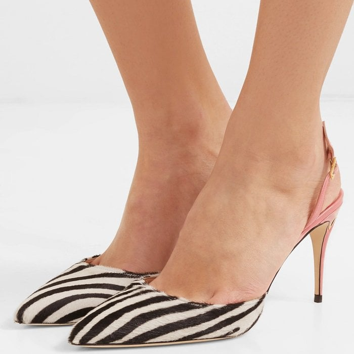 'Vittorio' patent-leather and zebra-print calf hair slingback pumps