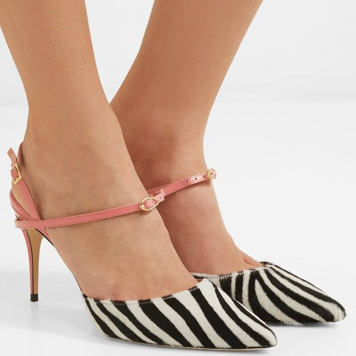 This pair is constructed from pink patent-leather and zebra-print calf hair