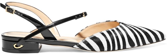 This point-toe pair is made from patent-leather and zebra-print calf hair