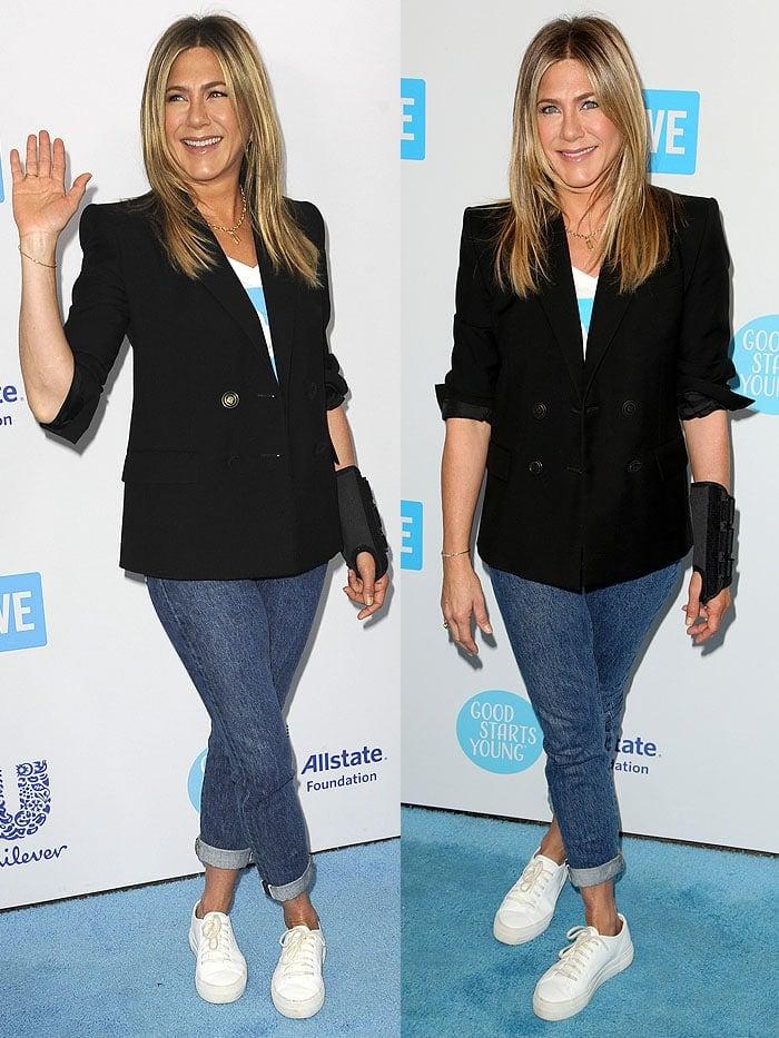 Jennifer Aniston sporting a wrist brace