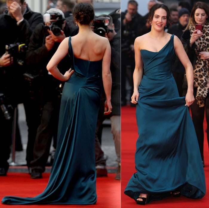 Jessica Brown Findlay ina glamorous dark-teal Vivienne Westwood Couture gown