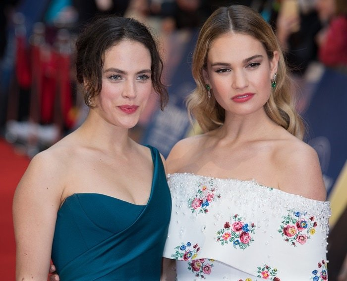 Lily James and Jessica Brown Findlay at the premiere of their new movie 'The Guernsey Literary and Potato Peel Pie Society'