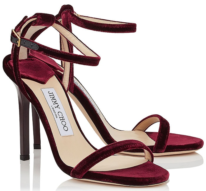 Jimmy Choo 'Minny' bordeaux velvet sandals
