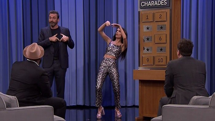 "Emily Ratajkowski playing a game of Charades with co-guest star Jon Hamm during an appearance on NBC's ""The Tonight Show Starring Jimmy Fallon"" aired on April 20, 2018."