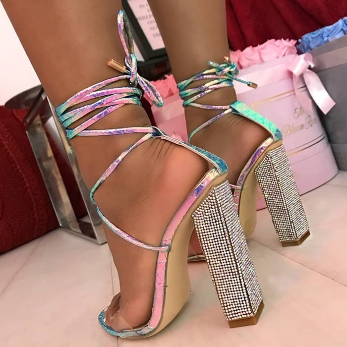 Clear Lace Up Diamante Block Heels